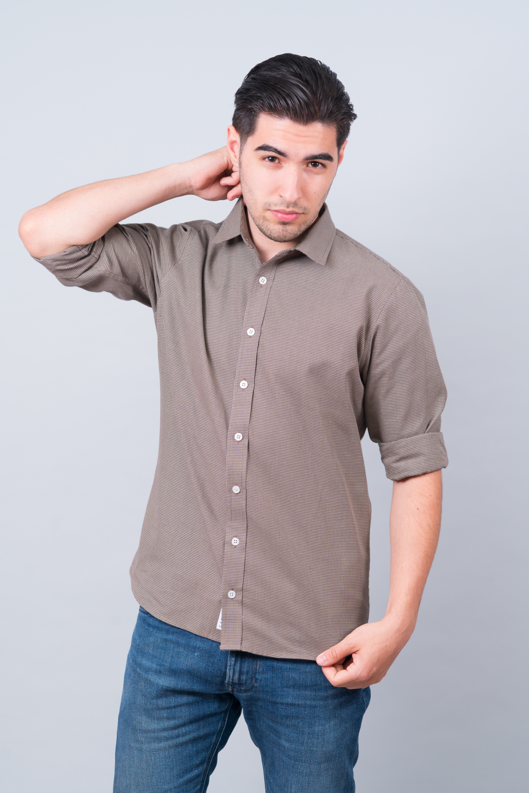 Koszula brązowa w pepitkę 6